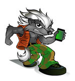 Honey Badger Cartoon with cell phone Stock Images