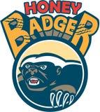 Honey Badger Mascot Claw Circle retro Fotografia Stock Libera da Diritti