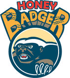 Honey Badger Mascot Claw Circle Retro Royalty Free Stock Photo
