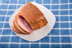 Honey Baked Ham Sliced on White Plate Royalty Free Stock Images