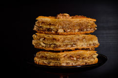 Honey Baklava, bonbons turcs traditionnels closeup Image stock