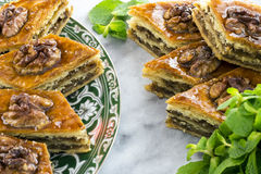 Honey baklava on the saucer Stock Photography