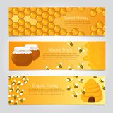 Honey Banners Abeilles mignonnes de bande dessinée avec la ruche Ensemble de vecteur Illustration de Vecteur
