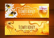 Honey Banners réaliste illustration stock