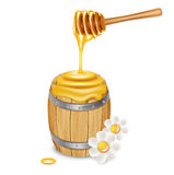 Honey barrel with dipper isolated Royalty Free Stock Image