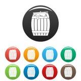 Honey barrel icons set color royalty free illustration
