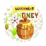 Honey Barrel. Vector illustration with honey barrel, buckwheat flower and bees in round doodle composition royalty free illustration