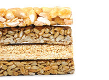 Honey bars with peanuts Stock Photos