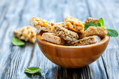 Honey bars with peanuts, sesame seeds and sunflower seeds. Royalty Free Stock Image