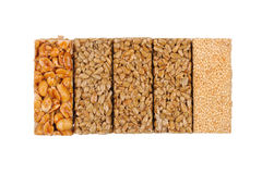 Honey bars. peanuts, sesame and sunflower seeds Royalty Free Stock Photo
