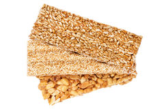 Honey bars with peanuts, sesame and sunflower seeds Royalty Free Stock Photo