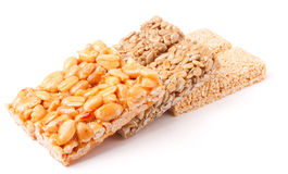 Honey bars with peanuts, sesame  and sunflower seeds Stock Images