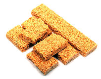 Honey bars with sesame seeds Stock Photos
