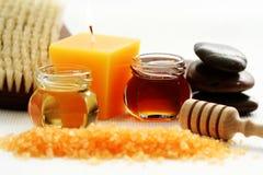 Honey bath time. Bath salt with honey - beauty treatment royalty free stock photos