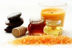 Honey bath time. Bath salt with honey - beauty treatment stock photography