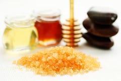 Honey bath time. Bath salt with honey - beauty treatment stock photo