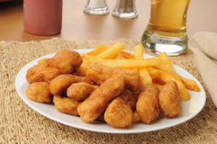 Honey battered chicken strips with beer Royalty Free Stock Photo