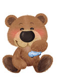 Honey bear. Cute Bear and his toy car Royalty Free Stock Photo