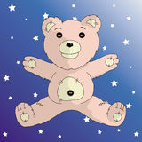 Honey bear. Cute children's toy bear on a blue background Stock Images