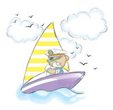 Honey Bear flottant sur un bateau Illustration Stock
