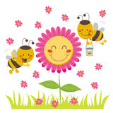 Honey Bee. Two cute honey bees flying around a happy flower carrying a bucket Royalty Free Stock Photography