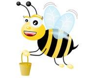 Honey Bee. A cartoon honeybee flying with honey pot on white background Royalty Free Illustration