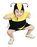 Honey Bee. Cute little girl in bumble bee costume Royalty Free Stock Photo