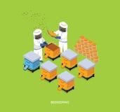 Honey Bee Apiary Beekeeper Design isometrico piano Fotografia Stock