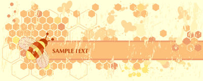 Honey Bee Banner. Grunge Honey Bee Web Banner Stock Image