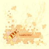 Honey Bee Banner. Grunge Honey Bee Banner Background Stock Photo