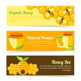 Honey bee banners Stock Images
