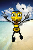 Honey bee on the beach. Bees are flying insects closely related to wasps and ants, and are known for their role in pollination and for producing honey and Royalty Free Stock Photo