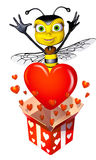 Honey bee box full of hearts Stock Images