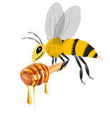 Honey and bee Stock Photo
