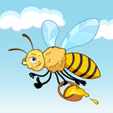 Honey bee cartoon in fly. Holding a basket with honey Royalty Free Stock Photo