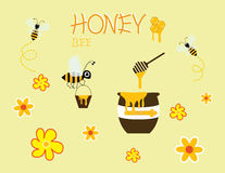 Honey bee cartoon jar vector happy yellow flower icon design Stock Images