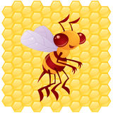 Honey Bee Character. Cute vector honey bee in front of a honeycomb background drawn in a humorous cartoon style vector illustration