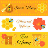 Honey bee colorful web banners set. Vector illustration of beekeeping template Stock Photo