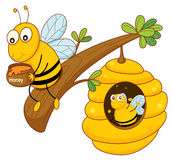 Honey bee and comb Stock Image