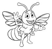 Cartoon Bee Character. A honey bee cute cartoon character mascot in outline Royalty Free Stock Photo