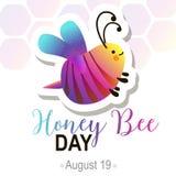 Honey Bee Day en August Summer Holiday ilustración del vector
