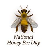 Honey Bee Day nazionale in U.S.A. Evento ecologico di concetto Disegno realistico dell'ape Illustrazione Vettoriale