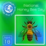 Honey Bee Day nazionale in U.S.A. Evento ecologico di concetto Disegno realistico dell'ape Calendario di serie Feste intorno al m Royalty Illustrazione gratis