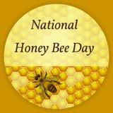 Honey Bee Day nazionale in U.S.A. Evento ecologico di concetto Fondo del favo con miele, ape Royalty Illustrazione gratis