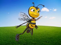Honey bee flying in a very nice day Royalty Free Stock Photo
