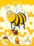 Honey & Bee Royalty Free Stock Photos