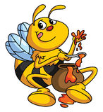 Honey and Bee Funny Cartoon Stock Images