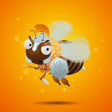 Honey bee guard. With spear, dagger and shield. character design Stock Photo