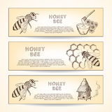 Honey and bee royalty free illustration