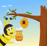 Honey bee holding honey jar Royalty Free Stock Images